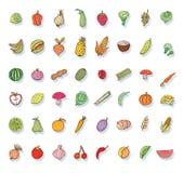 καθορισμένα λαχανικά εικονιδίων καρπού επίσης corel σύρετε το διάνυσμα απεικόνισης Στοκ φωτογραφία με δικαίωμα ελεύθερης χρήσης