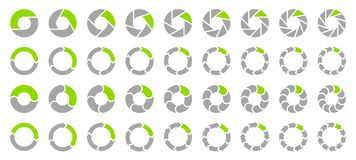 Καθορισμένα βέλη διαγραμμάτων πιτών γκρίζα και πράσινα απεικόνιση αποθεμάτων