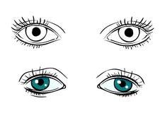 Καθορισμένα διανυσματικά ανθρώπινα μάτια διανυσματική απεικόνιση