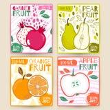 Καθορισμένα διανυσματικά φρούτα ετικετών χυμού Apple, γρανάτης, αχλάδι, πορτοκάλι Το χέρι σύρει την απεικόνιση Σχέδιο τροφίμων γι Στοκ Εικόνες