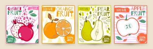 Καθορισμένα διανυσματικά φρούτα ετικετών χυμού Apple, γρανάτης, αχλάδι, πορτοκάλι Το χέρι σύρει την απεικόνιση Σχέδιο τροφίμων γι Στοκ Φωτογραφία