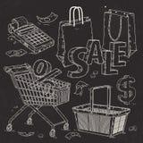Καθορισμένα εικονίδια για την υπεραγορά και το εμπόριο, ο εξοπλισμός εμπορικών συναλλαγών, ο κατάλογος μετρητών και οι τσάντες Στοκ Εικόνες