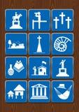 Καθορισμένα εικονίδια του μνημείου, άποψη, νεκροταφείο, πόλη, εκκλησία, απολίθωμα, τέχνες, βιβλιοθήκη, καμπίνες Εικονίδια στο μπλ διανυσματική απεικόνιση