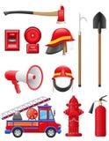 Καθορισμένα εικονίδια του πυροσβεστικού εξοπλισμού Στοκ Φωτογραφίες