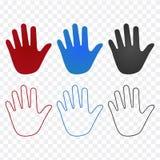 Καθορισμένα εικονίδια χεριών στα διαφορετικά χρώματα και το γραμμικό σχέδιο, κτύπημα Απεικόνιση στο διαφανές υπόβαθρο ελεύθερη απεικόνιση δικαιώματος