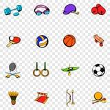 Καθορισμένα εικονίδια αθλητικού εξοπλισμού Στοκ Εικόνες