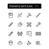 Καθορισμένα εικονίδια γραμμών διάνυσμα Κατασκευή, οικοδόμηση στοκ εικόνες