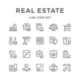 Καθορισμένα εικονίδια γραμμών της ακίνητης περιουσίας Στοκ εικόνα με δικαίωμα ελεύθερης χρήσης