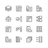 Καθορισμένα εικονίδια γραμμών της μόνωσης Στοκ Φωτογραφία
