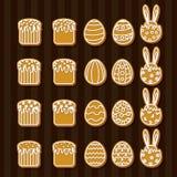 Καθορισμένα εικονίδια μπισκότων Πάσχας Στοκ Εικόνες