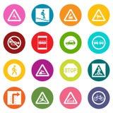 Καθορισμένα εικονίδια οδικών σημαδιών πολλά χρώματα καθορισμένα Στοκ Εικόνες
