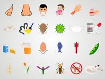 Καθορισμένα εικονίδια της αλλεργίας σε ένα επίπεδο σχέδιο ελεύθερη απεικόνιση δικαιώματος