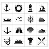 Καθορισμένα εικονίδια της θάλασσας, της παραλίας και του ταξιδιού Στοκ Εικόνα