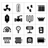 Καθορισμένα εικονίδια της θέρμανσης Στοκ φωτογραφίες με δικαίωμα ελεύθερης χρήσης