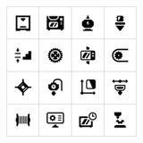 Καθορισμένα εικονίδια της τρισδιάστατης εκτύπωσης Στοκ φωτογραφία με δικαίωμα ελεύθερης χρήσης
