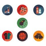 Καθορισμένα εικονίδια του αθλητισμού και της υγείας Στοκ φωτογραφία με δικαίωμα ελεύθερης χρήσης