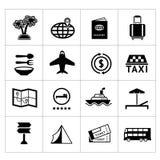 Καθορισμένα εικονίδια του ταξιδιού, τουρισμός Στοκ φωτογραφία με δικαίωμα ελεύθερης χρήσης