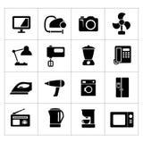 Καθορισμένα εικονίδια των εγχώριων τεχνικών και των συσκευών Στοκ Εικόνες