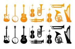 Καθορισμένα εικονίδια των ορχηστρικών μουσικών οργάνων απεικόνιση αποθεμάτων