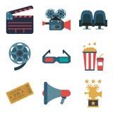 Καθορισμένα εικονίδια χρώματος κινηματογράφων, στοιχεία σχεδίου που απομονώνονται στο άσπρο υπόβαθρο Επίπεδο ύφος Στοκ φωτογραφία με δικαίωμα ελεύθερης χρήσης