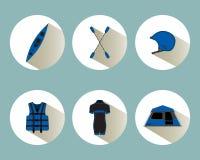 Καθορισμένα εικονίδια Rafting με τις σκιές στο μπλε χρώμα Στοκ Εικόνες