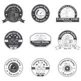 Καθορισμένα εκλεκτής ποιότητας υδραυλικά, λογότυπο υπηρεσιών θέρμανσης, ετικέτες και διακριτικά διανυσματική απεικόνιση