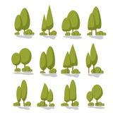 Καθορισμένα επίπεδα δέντρα σε ένα επίπεδο σχέδιο η ανασκόπηση απομόνωσε το λευκό ελεύθερη απεικόνιση δικαιώματος