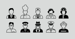 Καθορισμένα επίπεδα εικονίδια με το άτομο των διαφορετικών επαγγελμάτων Στοκ φωτογραφία με δικαίωμα ελεύθερης χρήσης