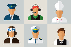 Καθορισμένα επίπεδα εικονίδια με το άτομο των διαφορετικών επαγγελμάτων Στοκ Εικόνα