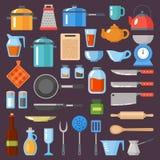 καθορισμένα εργαλεία κ&omi Σκεύος για την κουζίνα, cookware, συλλογή εργαλείων κουζινών Σύγχρονα επίπεδα εικονίδια καθορισμένα, γ Στοκ Εικόνες