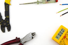 Καθορισμένα εργαλεία ηλεκτρολόγων στοκ φωτογραφίες