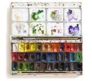 Καθορισμένα εργαλεία Watercolor με τις βούρτσες Στοκ φωτογραφίες με δικαίωμα ελεύθερης χρήσης