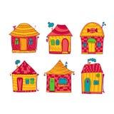 Καθορισμένα ζωηρόχρωμα σπίτια στο ύφος κινούμενων σχεδίων απεικόνιση αποθεμάτων