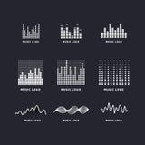 Καθορισμένα ζωηρόχρωμα υγιή κύματα εξισωτών μουσικής ui ux Στοκ εικόνα με δικαίωμα ελεύθερης χρήσης