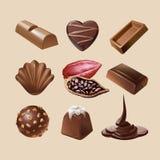 Καθορισμένα διανυσματικά εικονίδια της σοκολάτας ελεύθερη απεικόνιση δικαιώματος