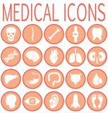 Καθορισμένα ιατρικά στρογγυλά εικονίδια ελεύθερη απεικόνιση δικαιώματος