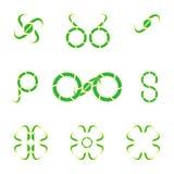Καθορισμένα διαφορετικά αφηρημένα λογότυπα και στοιχεία Στοκ Εικόνες