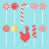 Καθορισμένα διαφορετικά γλυκά lollipops διανυσματική απεικόνιση
