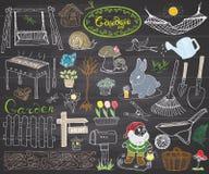 Καθορισμένα κήπος doodles στοιχεία Συρμένο το χέρι σκίτσο με τα εργαλεία κηπουρικής, τα flovers και τις εγκαταστάσεις, αριθμοί κή απεικόνιση αποθεμάτων