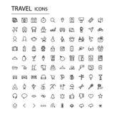 Καθορισμένα καθολικά εικονίδια ταξιδιού Σύγχρονα εικονίδια τουρισμού ελεύθερη απεικόνιση δικαιώματος