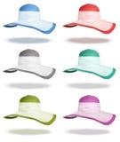 Καθορισμένα καπέλα θερινού αχύρου που απομονώνονται Στοκ φωτογραφία με δικαίωμα ελεύθερης χρήσης