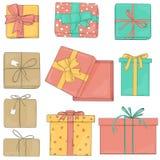 Καθορισμένα κιβώτια δώρων των διαφορετικών χρωμάτων και των μορφών Διανυσματική απεικόνιση στο ύφος σκίτσων Τα κιβώτια είναι δεμέ ελεύθερη απεικόνιση δικαιώματος