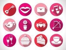 Καθορισμένα κουμπιά ημέρας βαλεντίνων, διανυσματικά σημάδια Στοκ Εικόνα