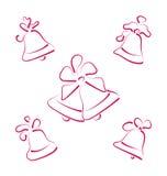 Καθορισμένα κουδούνια Χριστουγέννων σκίτσων που απομονώνονται στο άσπρο υπόβαθρο Στοκ Εικόνες