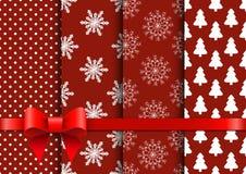 Καθορισμένα κόκκινα άνευ ραφής διανυσματικά υπόβαθρα Χριστουγέννων Στοκ εικόνες με δικαίωμα ελεύθερης χρήσης