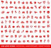Καθορισμένα κόκκινα εικονίδια αγάπης Στοκ Εικόνα