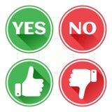 Καθορισμένα κόκκινα και πράσινα κουμπιά εικονιδίων Αντίχειρας πάνω-κάτω Όπως και απέχθεια Επιβεβαίωση και απόρριψη Ναι και αριθ.  απεικόνιση αποθεμάτων