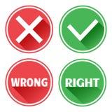 Καθορισμένα κόκκινα και πράσινα κουμπιά εικονιδίων Απόρριψη και επιβεβαίωση Λανθασμένος και σωστός r απεικόνιση αποθεμάτων