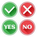Καθορισμένα κόκκινα και πράσινα κουμπιά εικονιδίων Επιβεβαίωση και απόρριψη Ναι και αριθ. r απεικόνιση αποθεμάτων