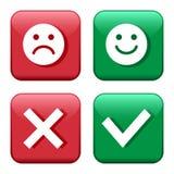 Καθορισμένα κόκκινα και πράσινα κουμπιά εικονιδίων Smileys emoticons θετικό και αρνητικό Επιβεβαίωση και απόρριψη Ναι και αριθ. r διανυσματική απεικόνιση
